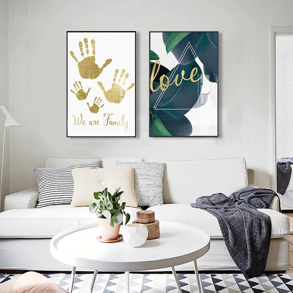 We Are Family Gold Letter Green Leaves Nordic Wall Art Love Quotation Minimalist Scandinavian Style Home Decor Fine Art Canvas Prints Scandinavian Style Home Room Wall Painting Minimalist Scandinavian