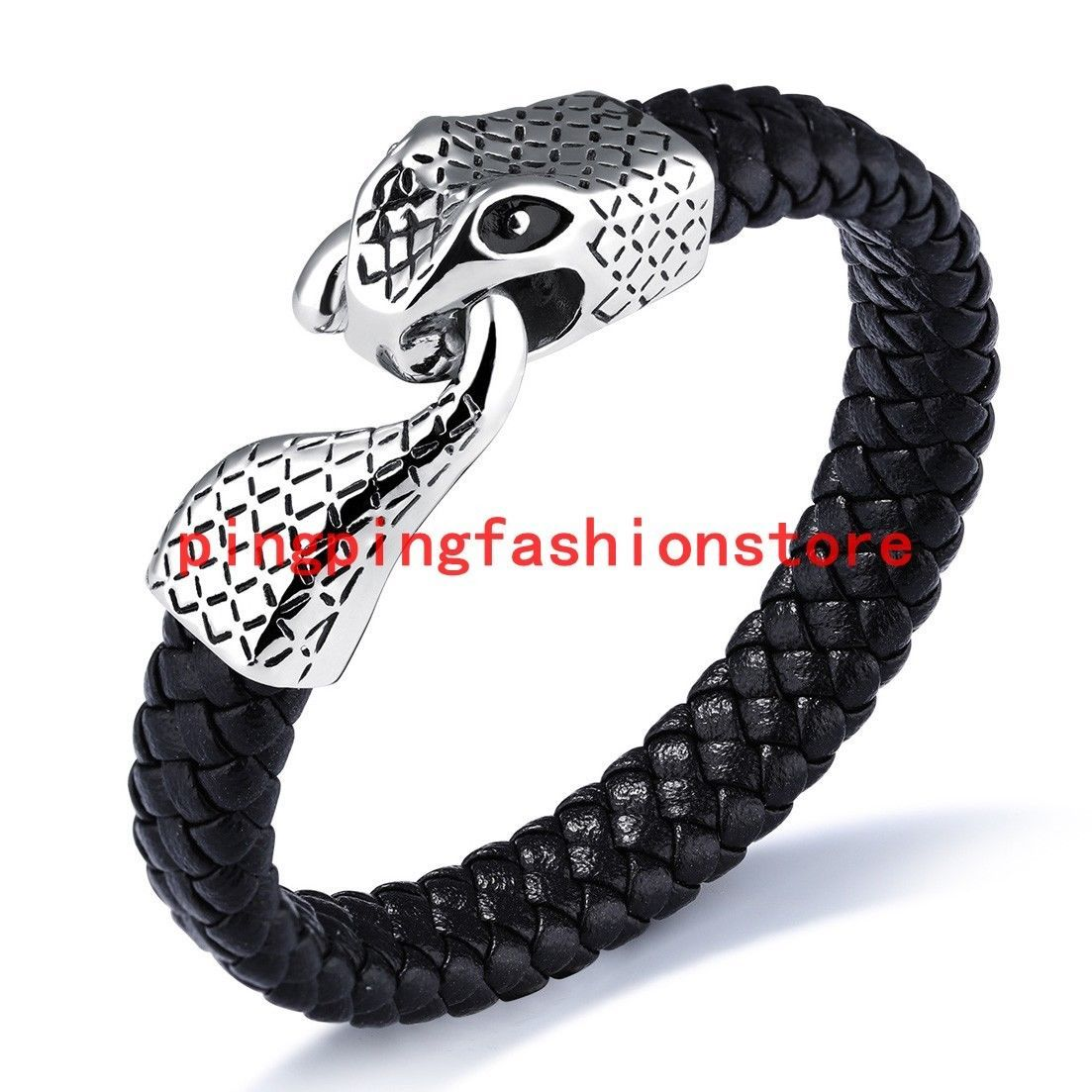 Menus stainless steel silver snake clasp genuine leather wristband