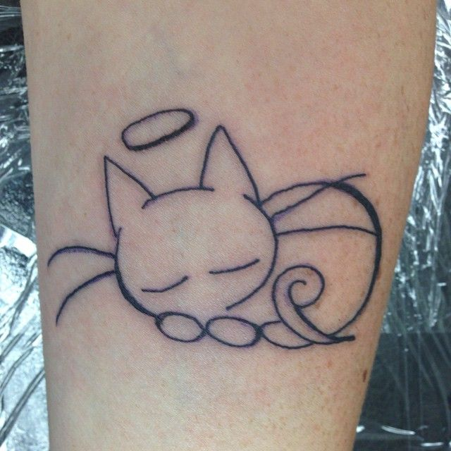 Angel Cat Tattoo In Memory Of My Elvis Kitty 2001 2011 Memorial Tattoos Tattoos Art Tattoo