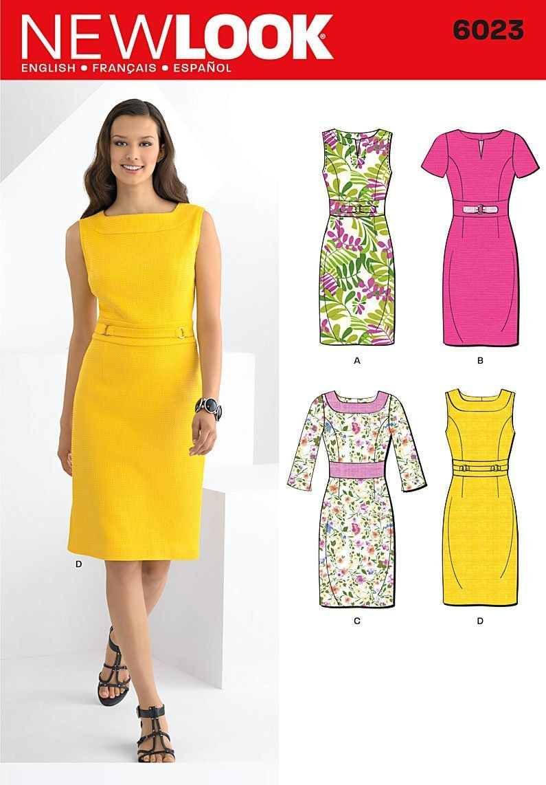 2fe4d43462 New Look A 6-8-10-12-14-16 Sewing Pattern 6023 Misses Dresses ...