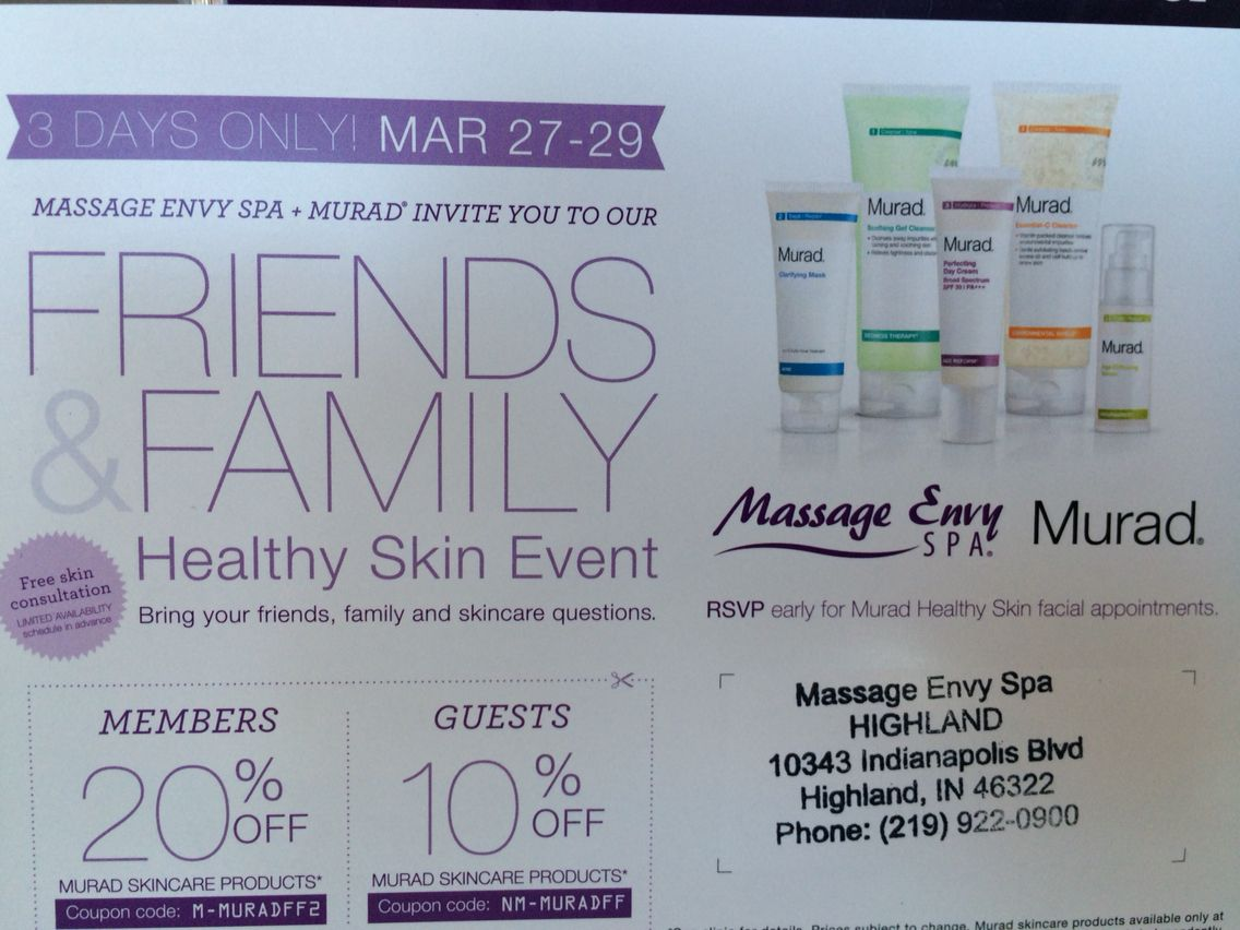 Friends and Family weekend March 27,28,29 at Massage Envy