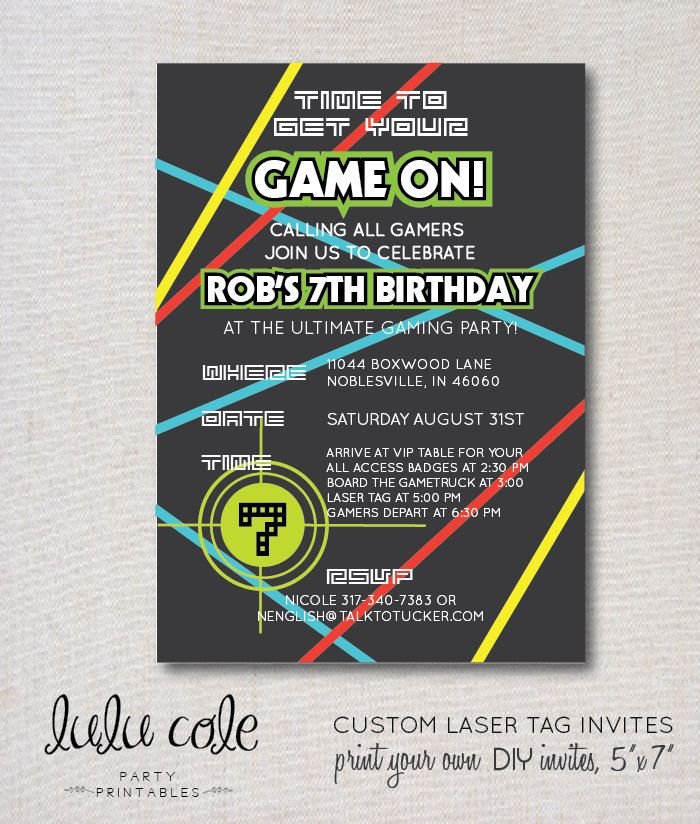 Laser Tag Party Invitation | Glow Party | Gamer Party | LuluCole ...