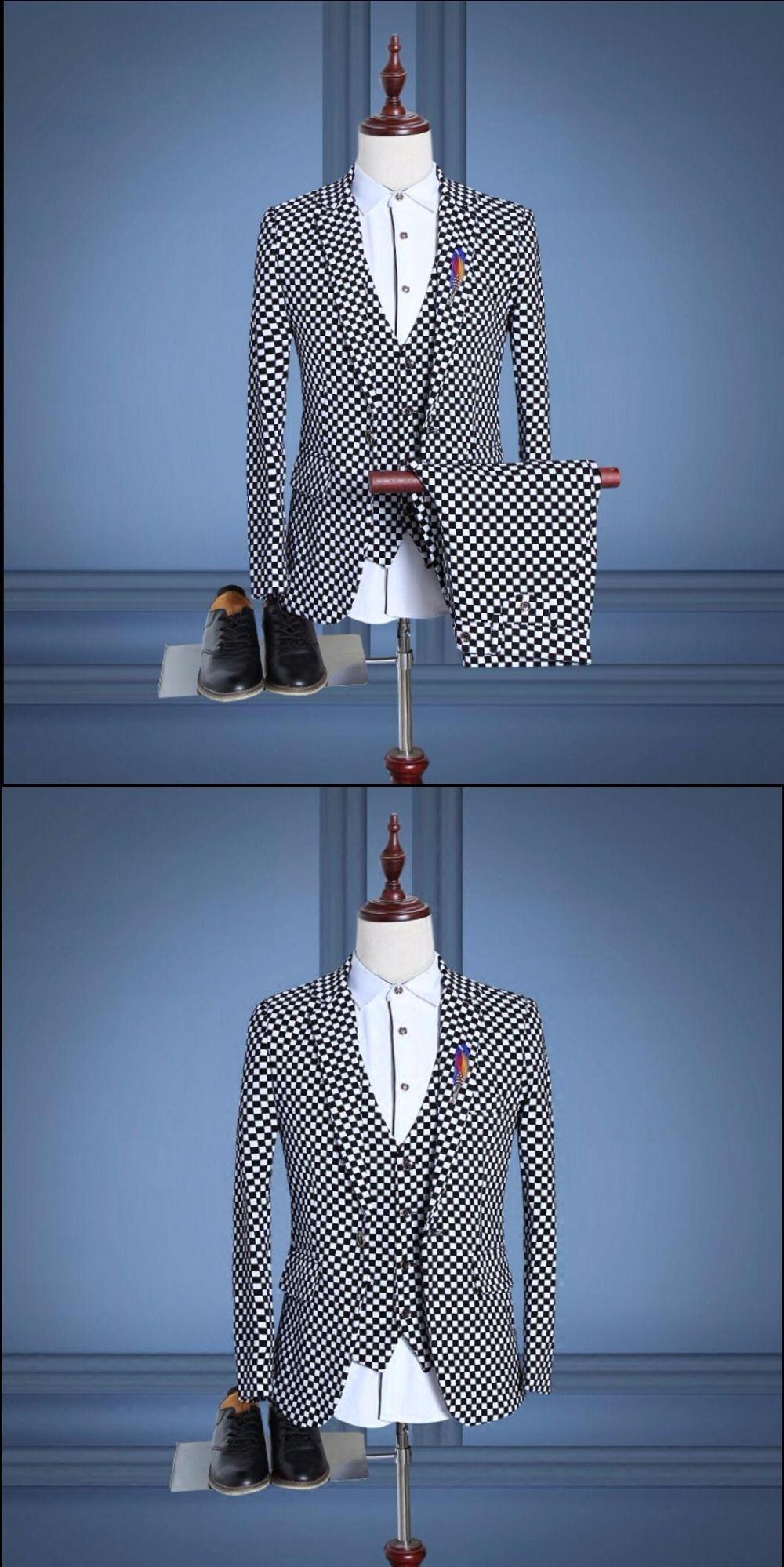 Spring and Autumn New Men \'s three - piece suit printing lattice ...