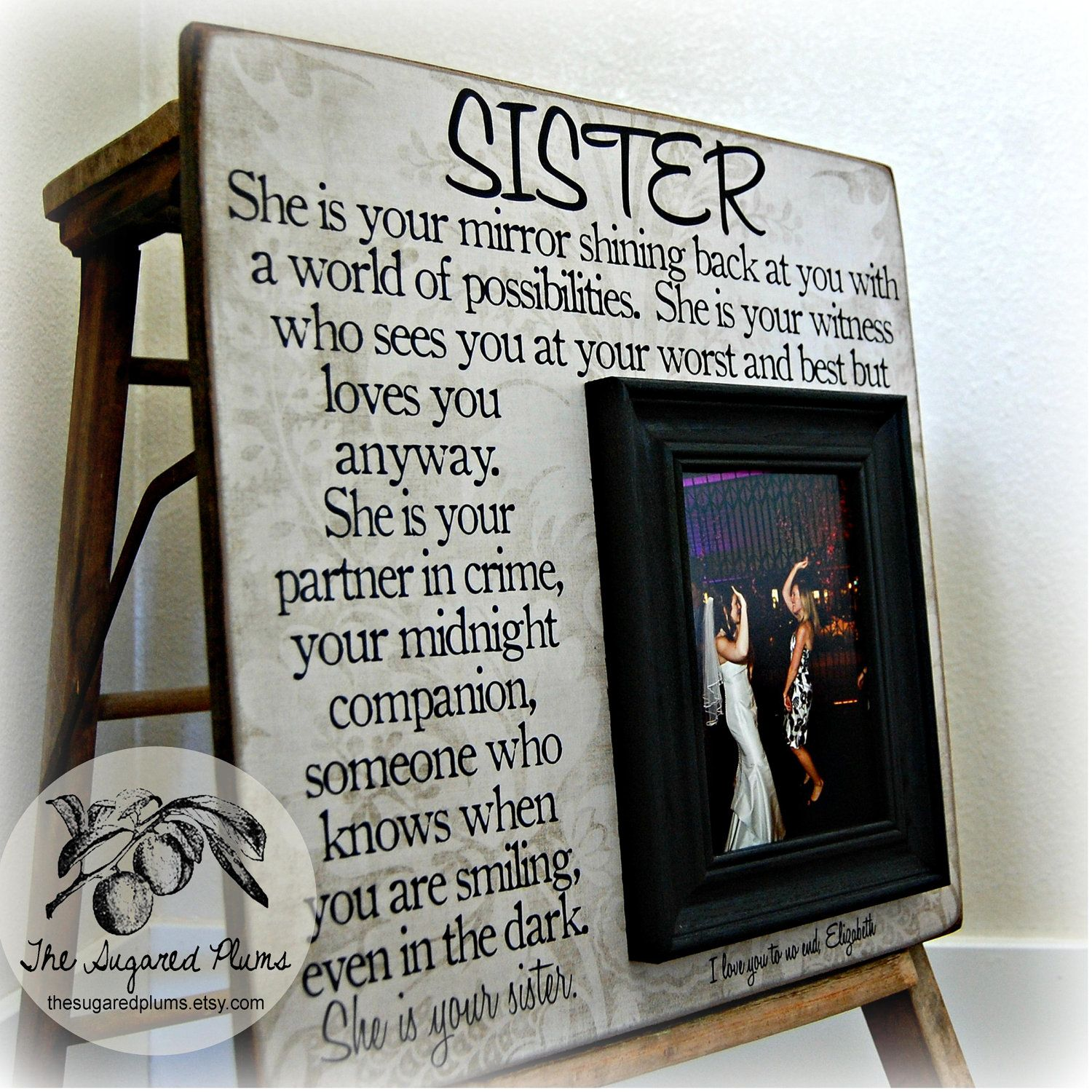Wedding Gift For Friend Sister : Sister Picture Frame, Personalized Bridesmaid Gift, Best Friend Gift ...