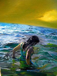 My reflection - Sunset beach ocean tropical vibrant original oil painting. $2,000.00, via Etsy.