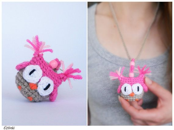 Cute Little Amigurumi Owl : Children necklace bookmark useful gift for little girl cute owl