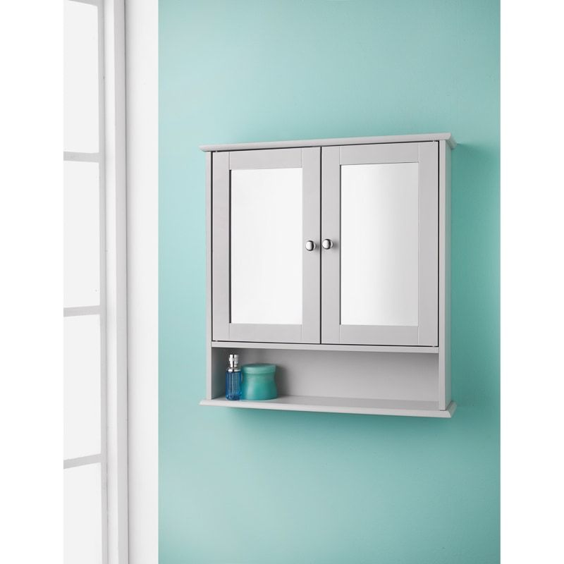 Maine Grey Bathroom Mirror Cabinet With Shelf This Range Of Stylish Furniture Is A Great Home In 2020 Gray Bathroom Walls Grey Bathroom Mirrors Bathroom Wall Cabinets