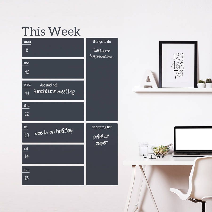 Write And Erase Weekly Planner Wall Decal Sticker | Weekly planner ...