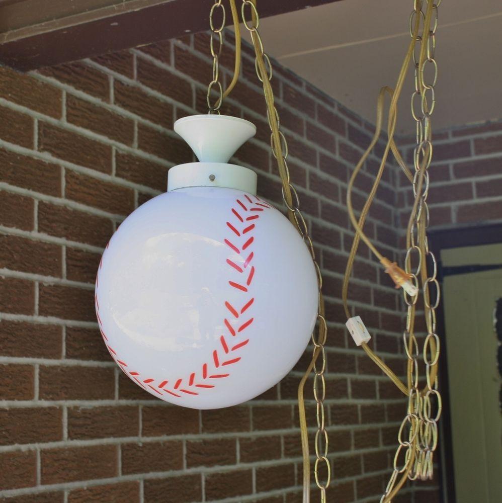 Vtg Baseball Hanging Globe Light Swag Lamp Plug In W Switch