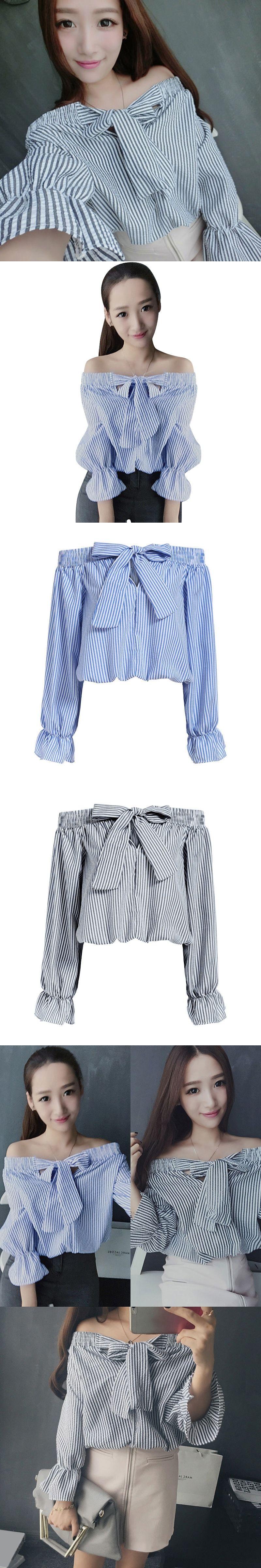 e1b8b2a6539f6c Hot Women Off Shoulder Tops Bow Vertical Striped Vogue Summer Feminine Long  Sleeve Slash Neck Blue