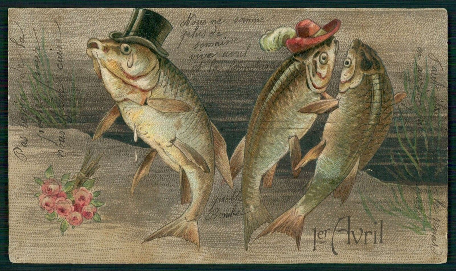 Art Dressed April Fool Day Lucky Fish Flirt Fantasy Original Old 1910s Postcard…