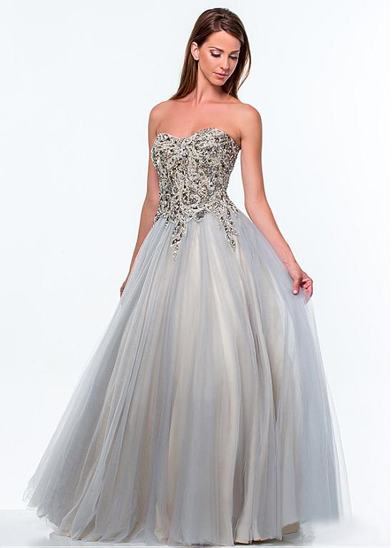 Chic Tulle Sweetheart Neckline Ball Gown Prom Dress With Beadings & Rhinestones