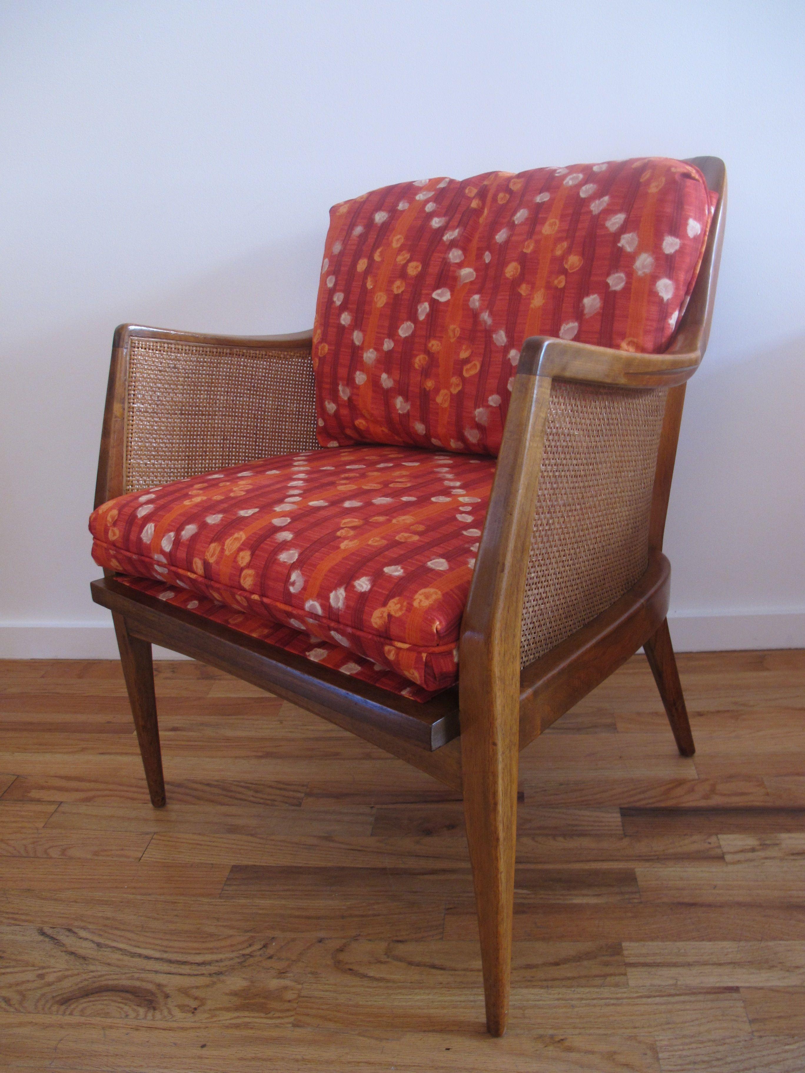 Beech cane lounge chair modern vintage chair decor