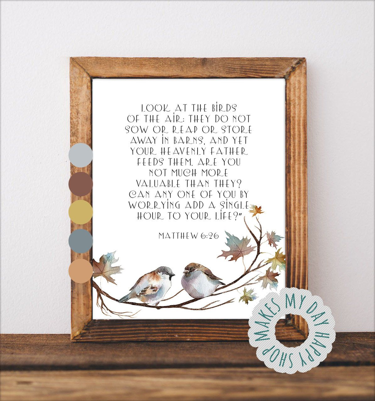 Matthew 6 26 Bible Verse Print Look At The Birds Of The