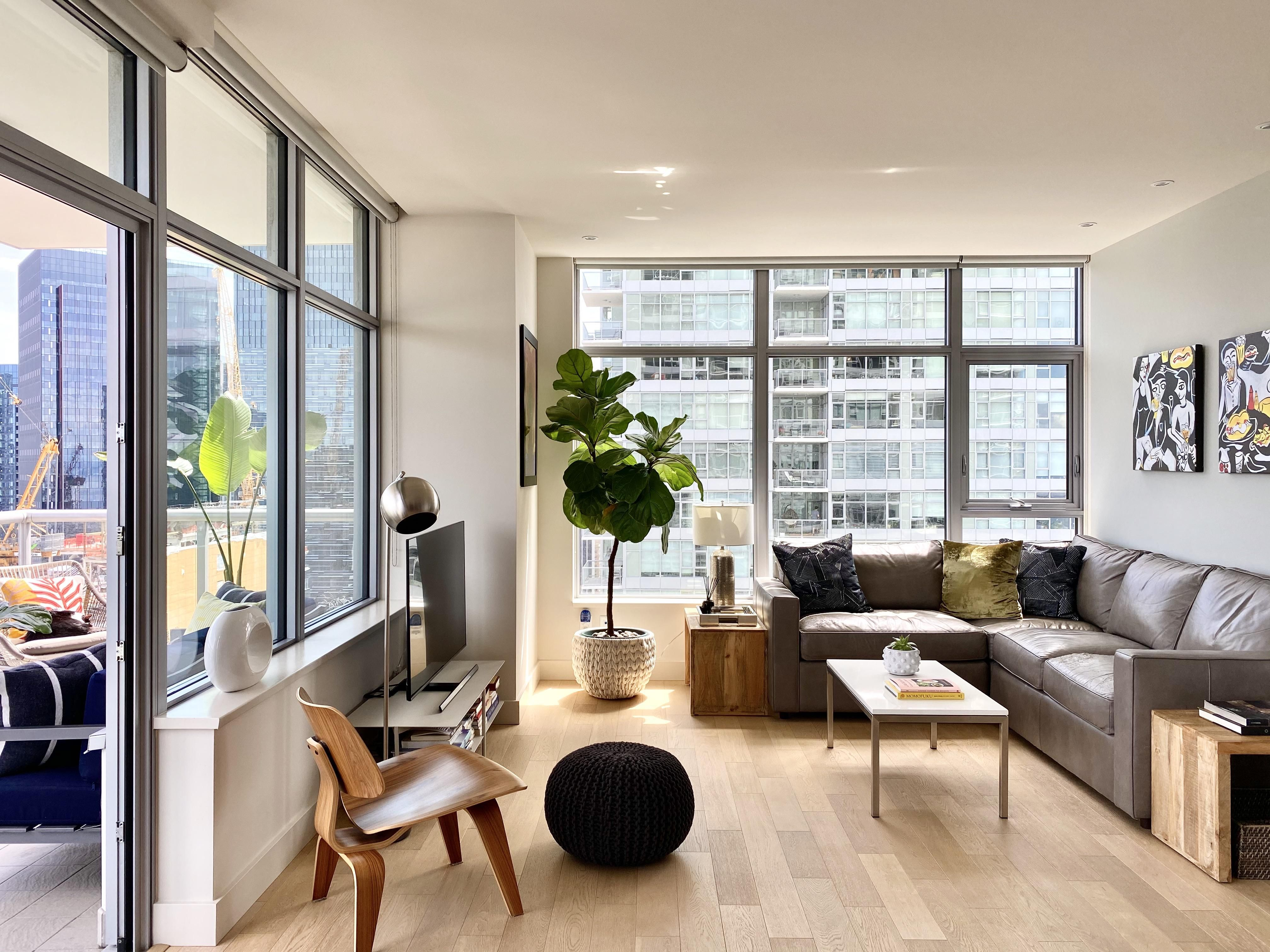 Breaking All The Rules No Rug Tv Against A Window A Fabric Destructive Cat Who Window Treatments Living Room Modern Minimalist Living Room Living Room Windows Living room no rug