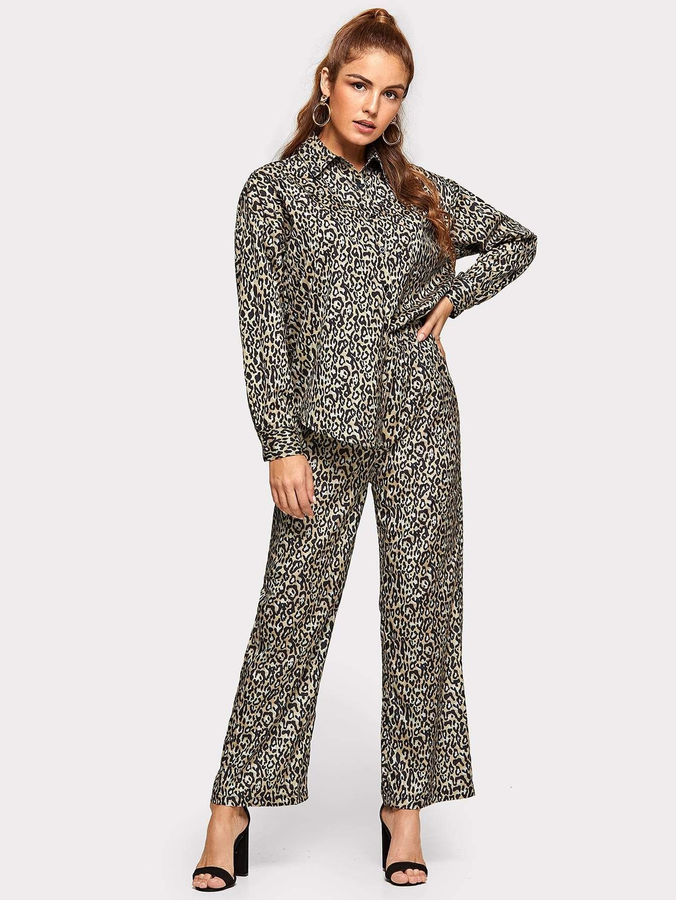 c0041b9682d leopard print blouse with pants.  two-pieceoutfits  co-ords  women