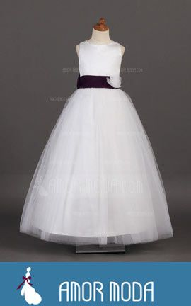 Flower Girl Dress With Sash Flower(s) Bow(s)  at an affordable price of $109.99 #dress