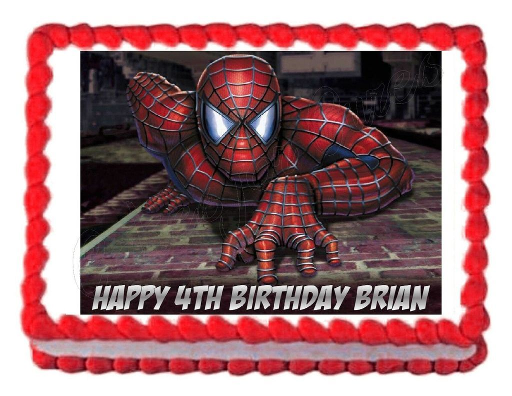Spider-man Personalized Edible Print Cake Toppers Frosting Quarter Sheet
