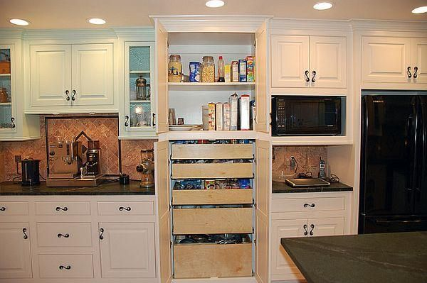 white kitchen cabinets wood counter top | ... Kitchen Small ...