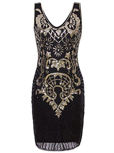 Vijiv 1920s Short Prom Dresses V Neck Inspired Sequins Cocktail Flapper  Dress -- You can find out more details at the link of the image.   Xmasclothing 7d6ef7542