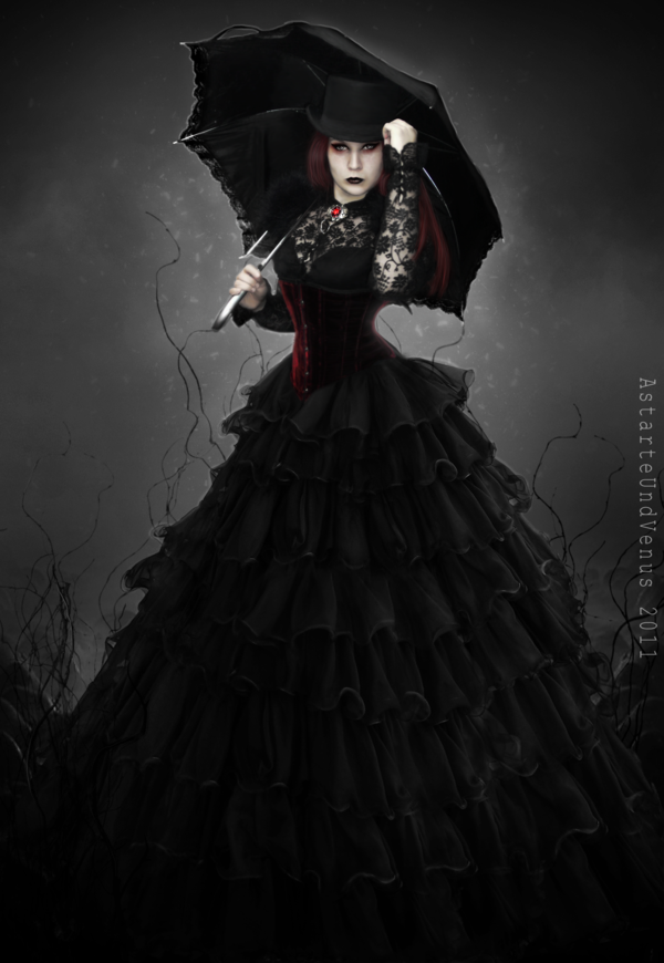 EmanatioN in her neo-Victorian Gothic mourning gown with parasol