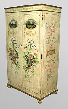 Armoire With Crackle Finish And Hand Painted Floral Design. Very French And  Very Easy To