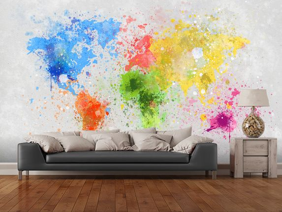 World map painting wallpaper wall mural wallsauce