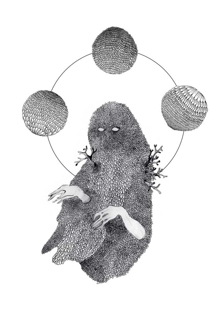 She who lies in black water - drawing - Adeline Schöne #illustration