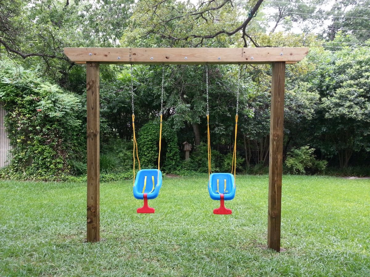 Diy Swing Set Plans For Kids And Baby Ideas Playhouse Simple In Backyard Swingset