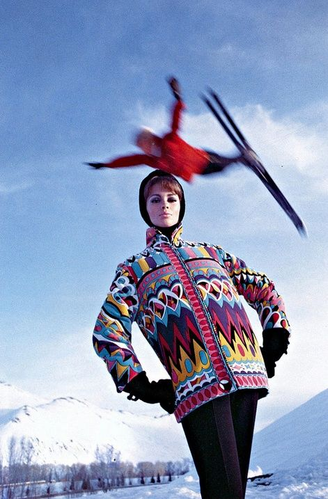 Astrid Heeren wearing a ski jacket by Pucci for Vogue, 1964. Photo by Peter Beard.