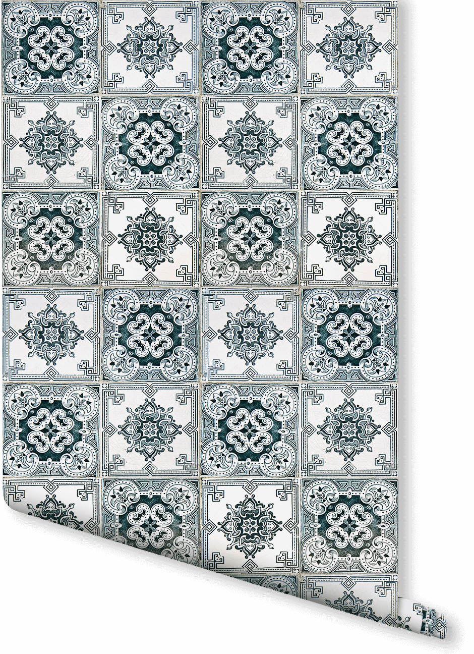 Transform Your Room With Elegant Baroque Design This Faux Tile Wallpaper Is Ideal For A