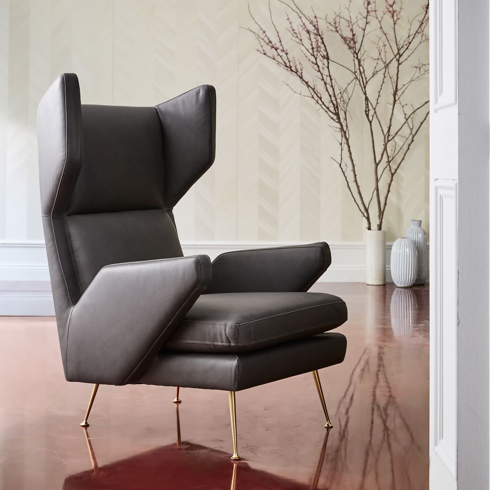 Marcelle midcentury leather wing chair living room