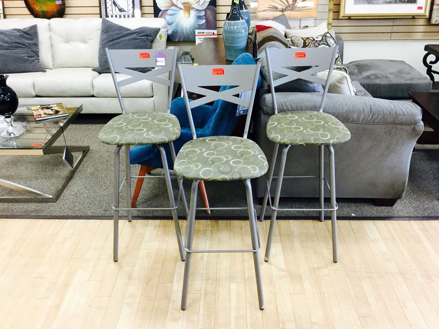SAVE 20% OFF ALL RED TAG MERCHANDISE: Sturdy Amisco brand swiveling bar stools that drop to $106 for all three as part of the Red Tag Sale!