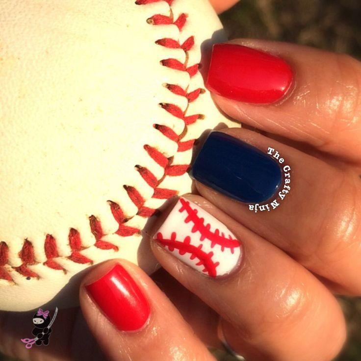 Baseball Nail Art Tutorial -Follow Driskotech on Pinterest! | Summer ...