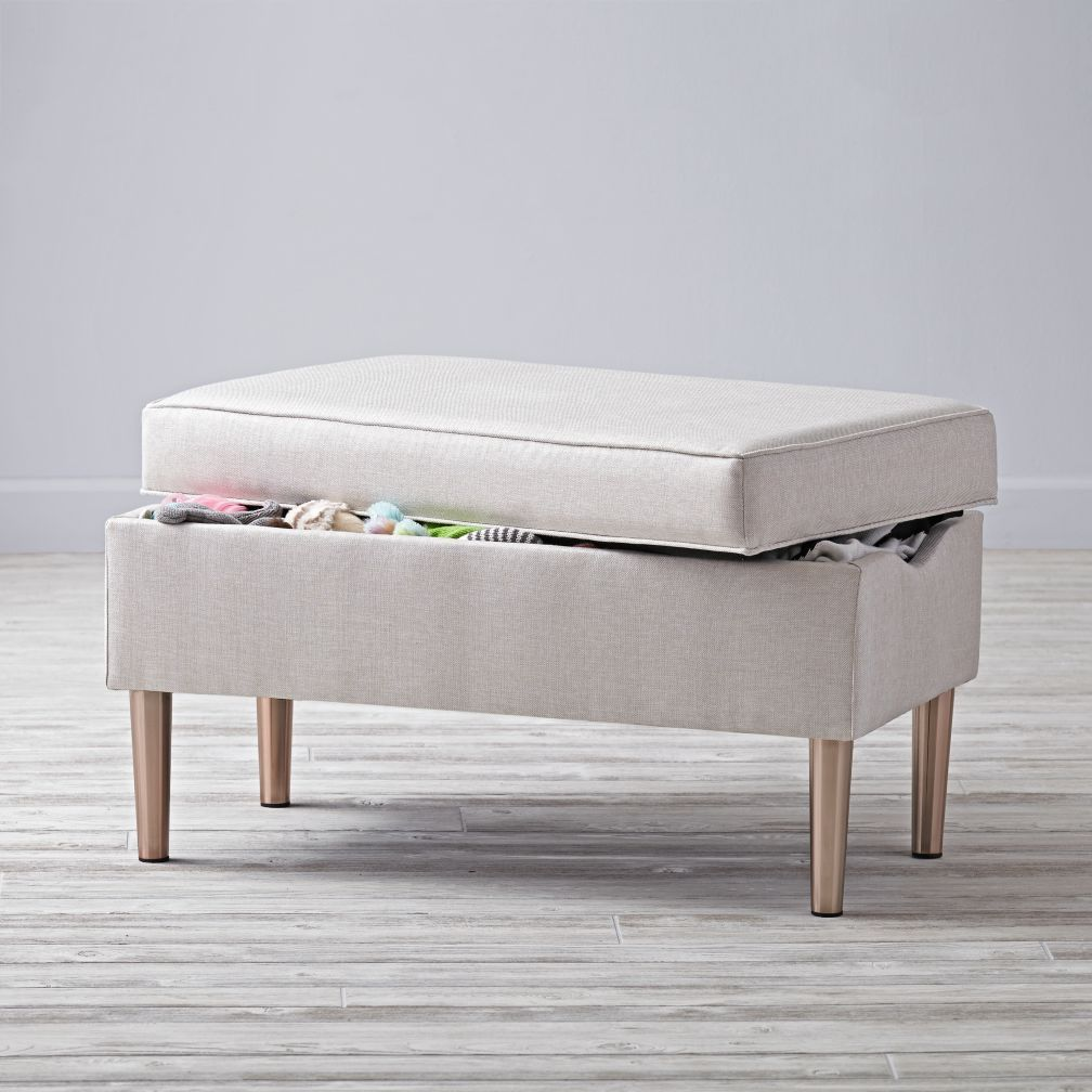 Outstanding Upholstered Storage Bench Vision Ivory The Land Of Nod Andrewgaddart Wooden Chair Designs For Living Room Andrewgaddartcom