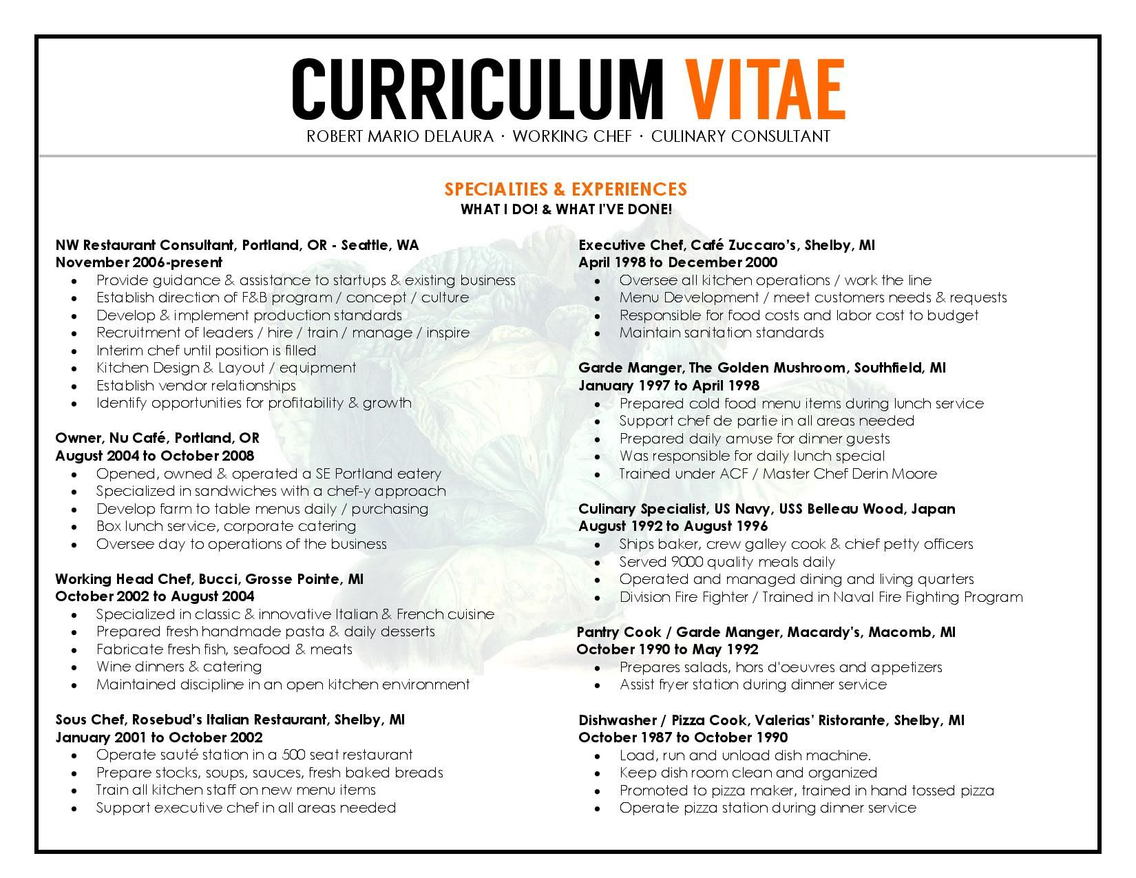 Unique Chefs  Cv  Resume To Resemble A Restaurant Menu Format