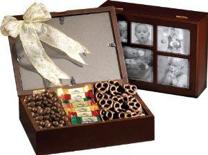 A Photo Box Filled With Goodies Inside Chocolate Gifts Basket Unique Gift Baskets Gourmet Gift Baskets