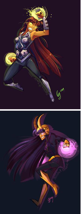 Starfire And Blackfire As Thor And Loki  Superheroes -8549