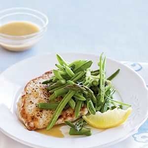 Heart-Healthy Entrées | Chicken Scaloppine with Sugar Snap Pea, Asparagus, and Lemon Salad | CookingLight.com