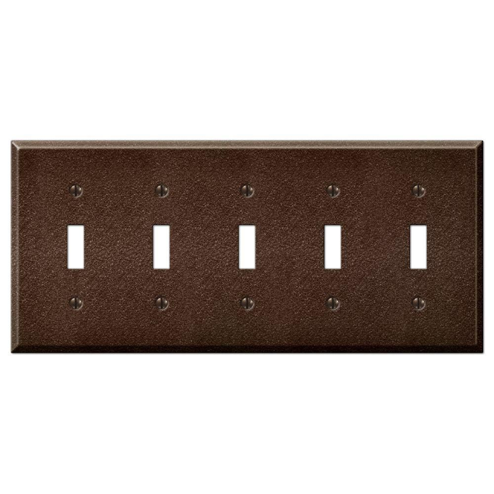 Creative Accents Steel 5 Toggle Wall Plate Antique Copper 9tac105