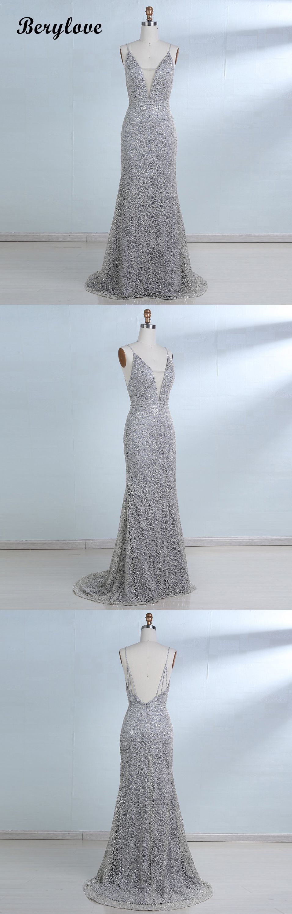 Mermaid Sliver Deep V Neck Backless Sequin Lace Prom Dresses 2018  promdresses promgowns eveinggowns eveningdresses sliverpromdresses ... 29f5f302b3d1