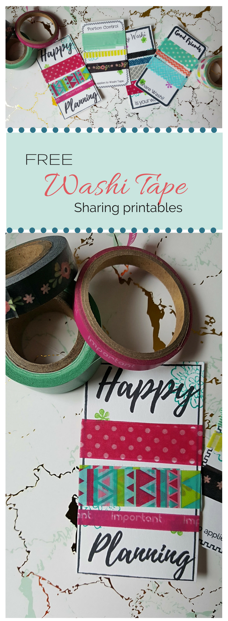 Planner printable Free planner printable: Washi Tape Sharing Printable - trade washi with friends and uplevel your planner - free printable, 6 designs. #washi #washitape #printable #planner #planneraddict