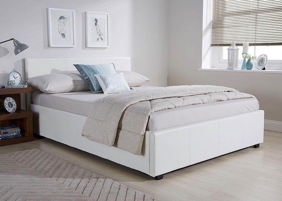 Side Lift Ottoman Storage Three Quarter 3 4 Bed Frame In White