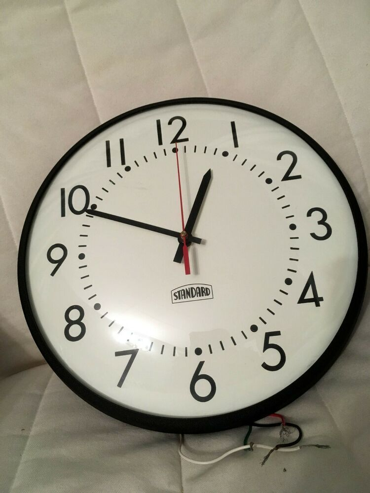 Vintage 12 Standard School Industrial Factory Electric Wall Clock Faraday Ebay Wall Clock Clock Industrial Clocks