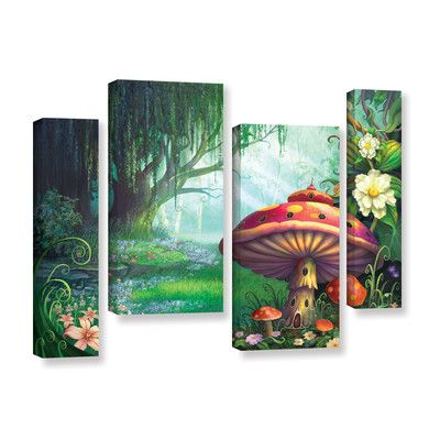 ArtWall Enchanted Forest by Philip Straub 4 Piece Graphic Art on Gallery-Wrapped Canvas Staggered Set   Wayfair