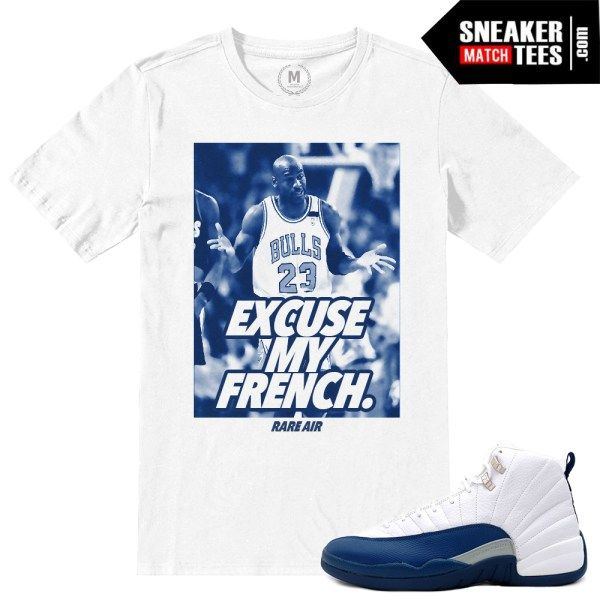 759b6f46f59d90 match jordan 12 french blue shirts retro 12 sneaker tees