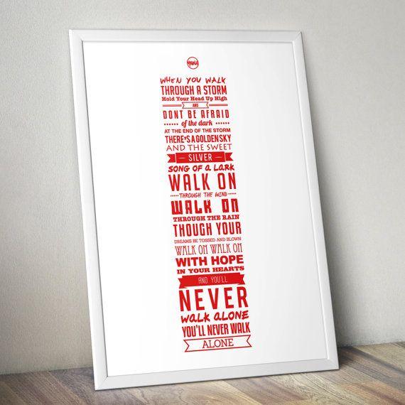 Ynwa Lyrics Liverpool Fc Print White By Kierancarrolldesign 1500
