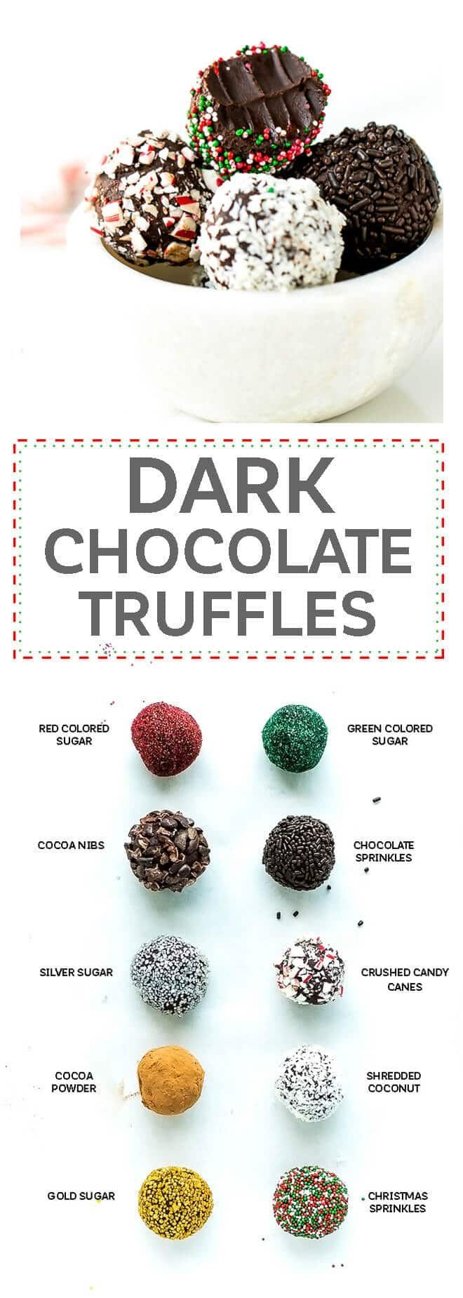 Chocolate Peppermint Truffles Recipe - just 3 simple ingredients + sprinkles and mint ectract. These truffles are easy to make and perfect for an edible gift around the holidays. via @cookinglsl