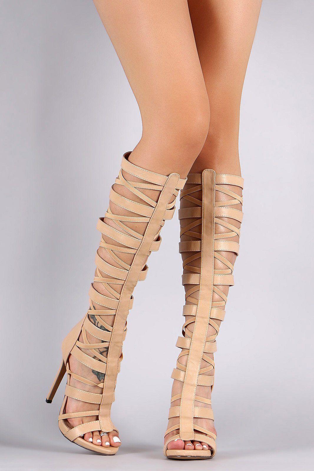 Liliana Caged Strappy Knee High Gladiator Heel