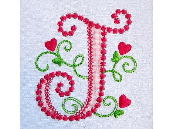 Letter J Applique Machine Embroidery Design Monogram Initials